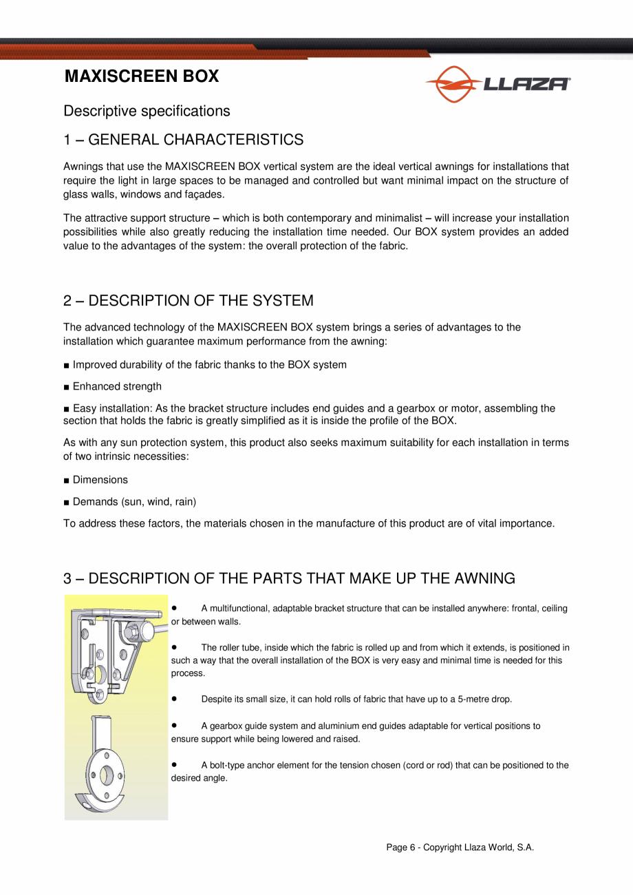 Pagina 6 - Rulou din material textil (Box) LLAZA Maxi Screen Fisa tehnica Engleza 3.50 3.50  DROP...