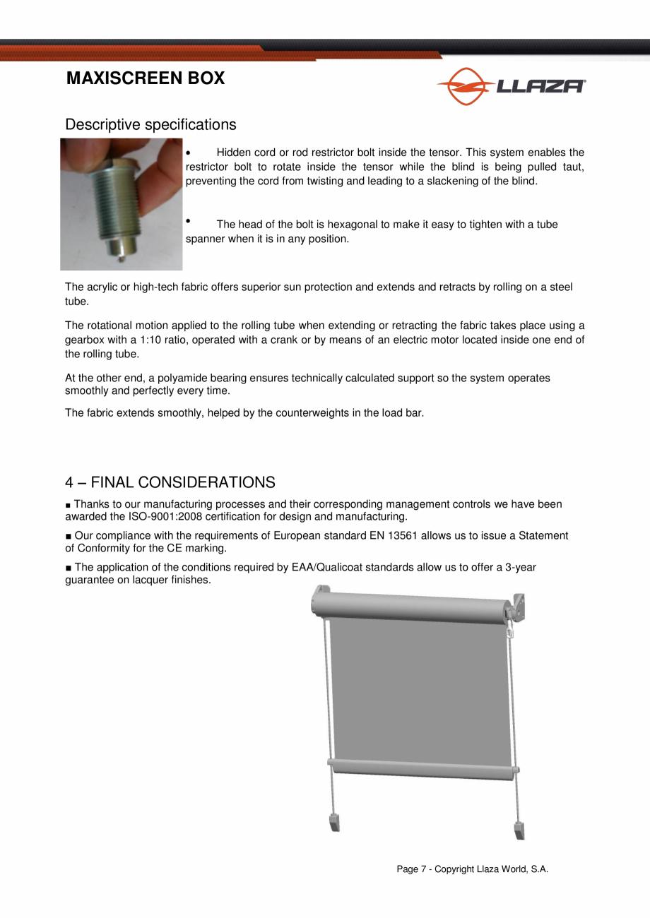 Pagina 7 - Rulou din material textil (Box) LLAZA Maxi Screen Fisa tehnica Engleza   2.00  2.50  3.00...