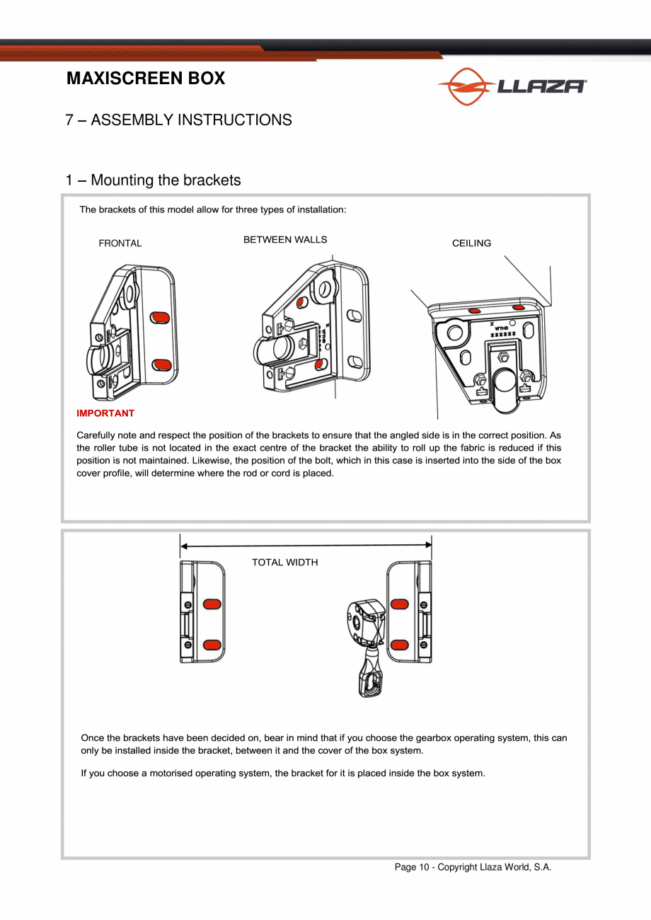 Pagina 11 - Rulou din material textil (Box) LLAZA Maxi Screen Fisa tehnica Engleza MAXISCREEN BOX ...