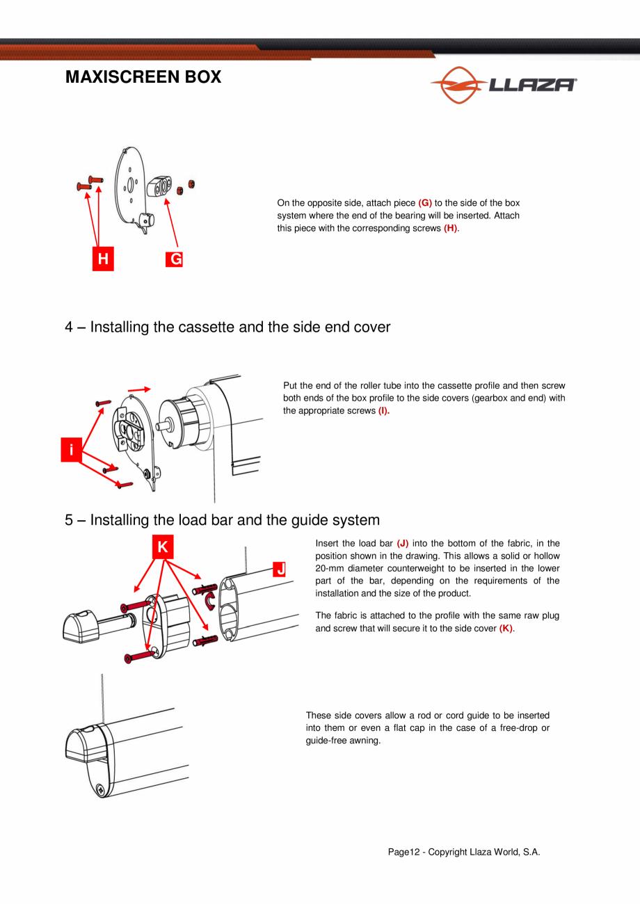 Pagina 13 - Rulou din material textil (Box) LLAZA Maxi Screen Fisa tehnica Engleza