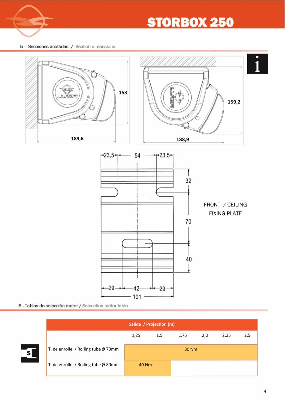 Instructiuni montaj, utilizare Instructiuni de instalare a peretelui de vant  LLAZA Pereti si rulouri din sticla pentru inchidere terasa COVER SUN  STORBOX 250 9.- Herramientas y accesorios recomendados para la instalación /  10.- Línea / Width... - Pagina 4