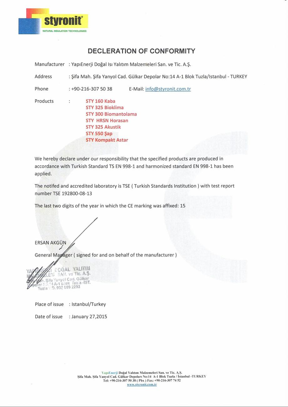 Pagina 1 - Certificare CE  Certificare produs Engleza
