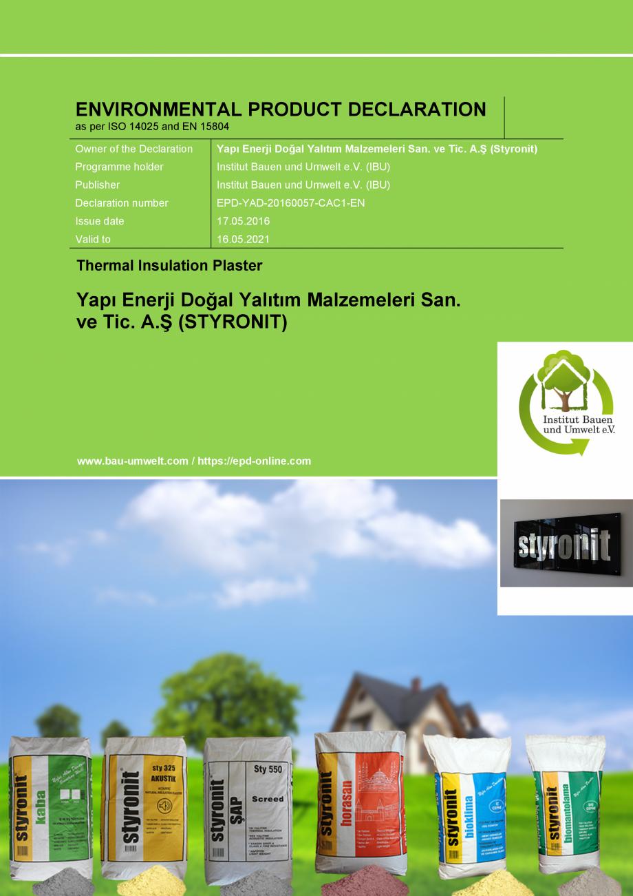 Pagina 1 - Certificare IBU Germania EPD  Certificare produs Engleza ENVIRONMENTAL PRODUCT...