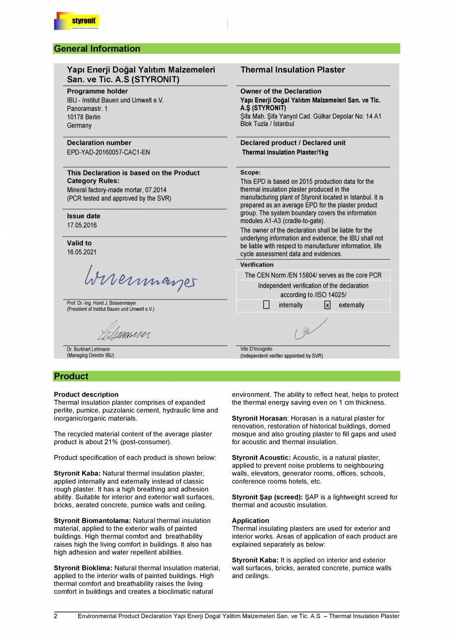 Pagina 2 - Certificare IBU Germania EPD  Certificare produs Engleza -EN  Declared product / Declared...