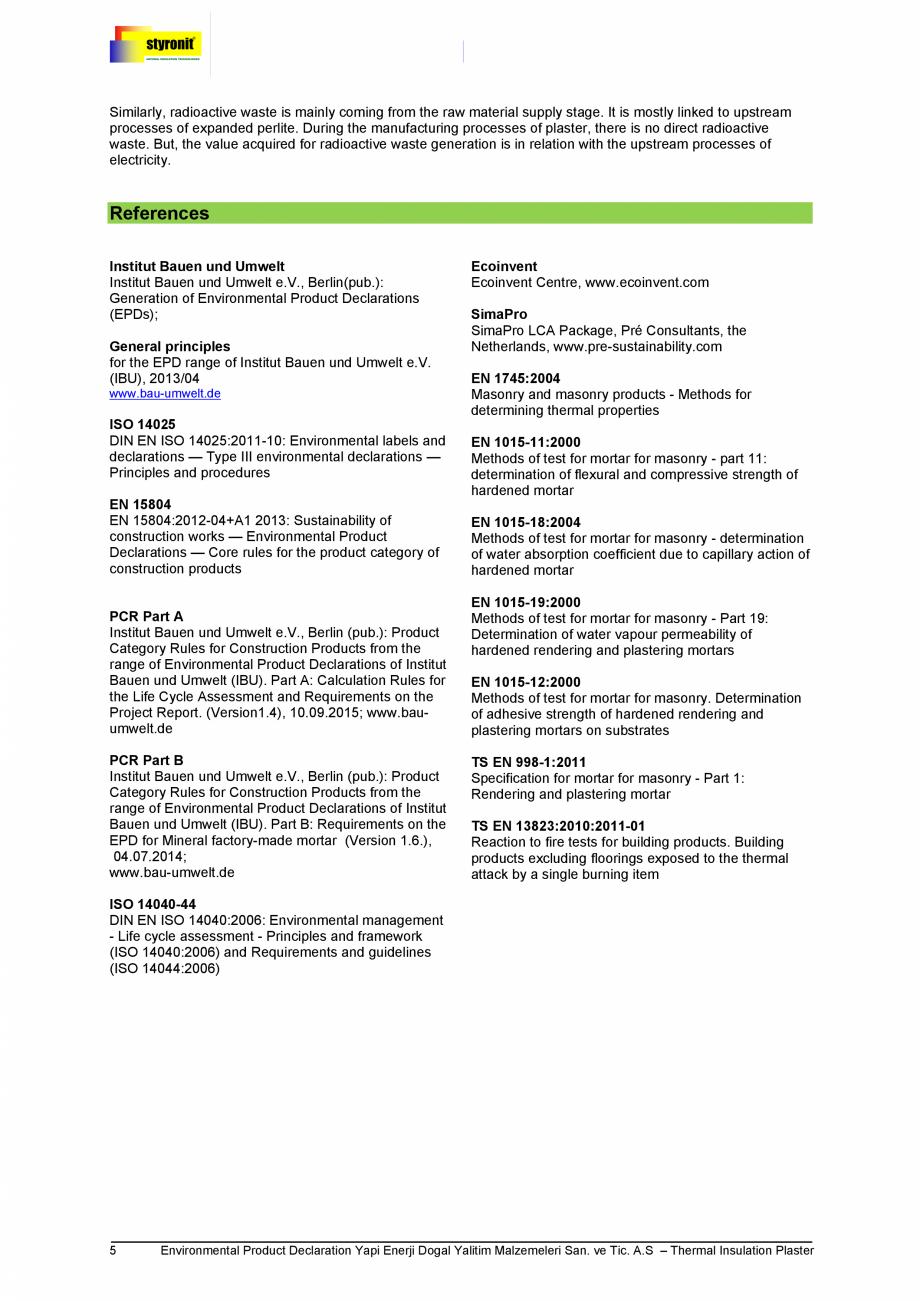 Pagina 5 - Certificare IBU Germania EPD  Certificare produs Engleza tal Product Declaration Yapi...