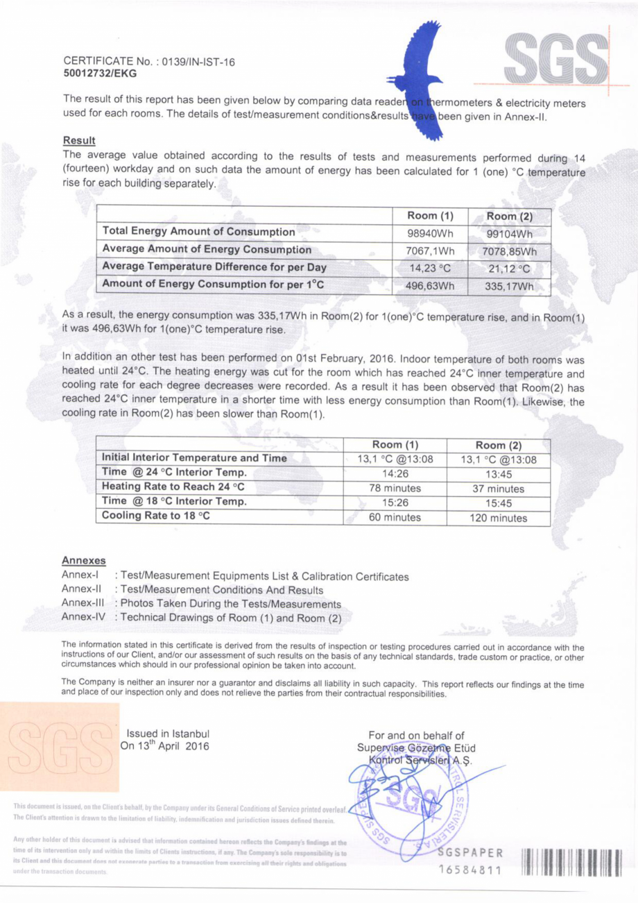 Pagina 4 - Raport test auditor SGS Elvetia - STYRONIT  Certificare produs Engleza, Romana