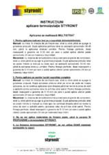 Instructiuni aplicare termoizolatie STYRONIT STYRONIT