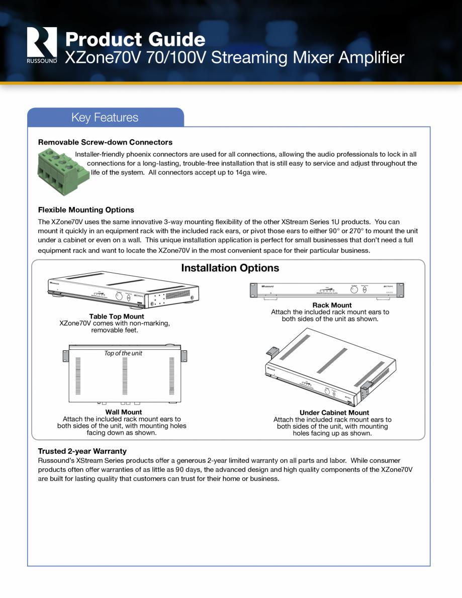 Pagina 3 - Amplificator si mixer cu streaming integrat Russound XZone70V Fisa tehnica Engleza ns, it...