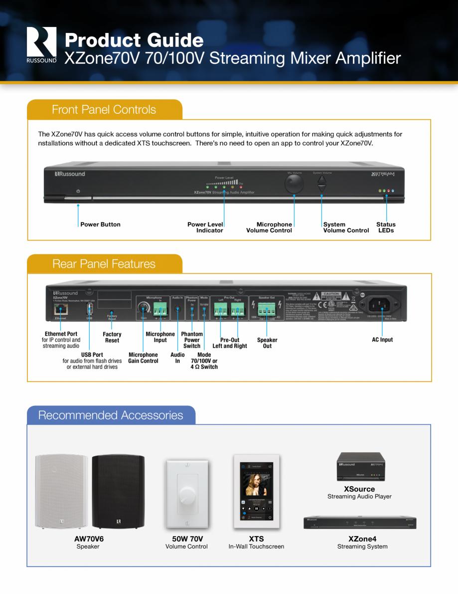 Pagina 4 - Amplificator si mixer cu streaming integrat Russound XZone70V Fisa tehnica Engleza...