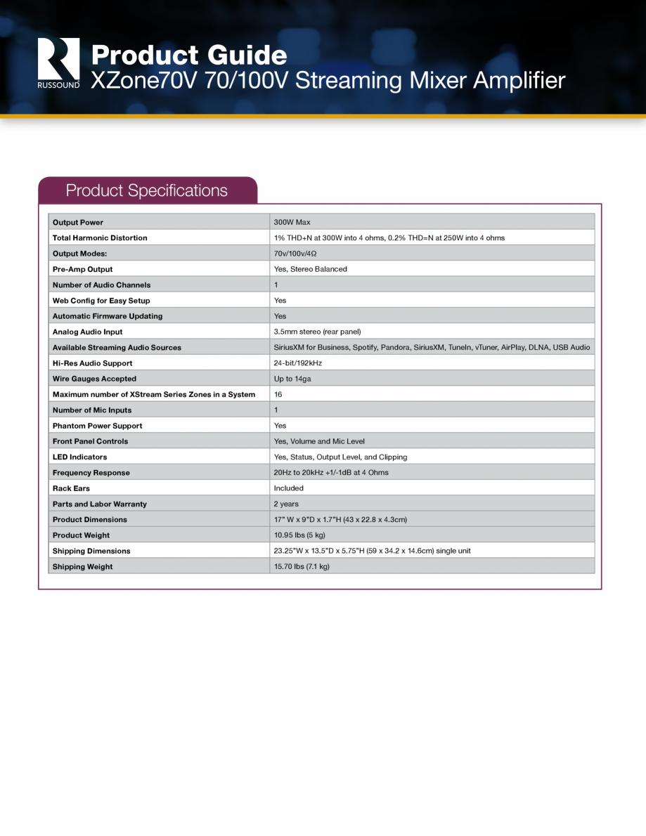 Pagina 5 - Amplificator si mixer cu streaming integrat Russound XZone70V Fisa tehnica Engleza  jack ...