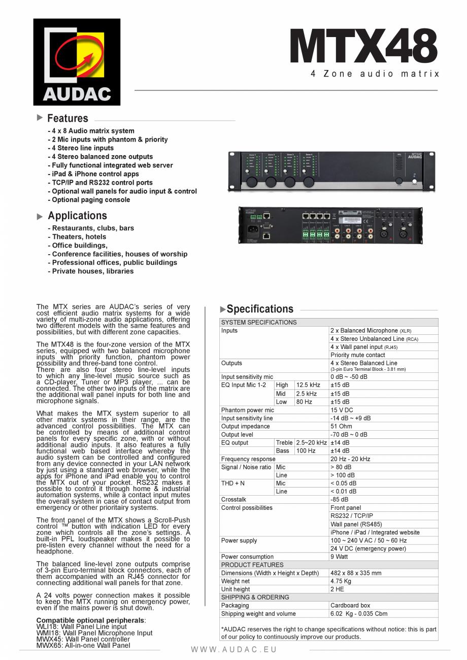 fisa tehnica sistem audio tip matrice mtx48 audac sisteme audio si sonorizare multizone petea