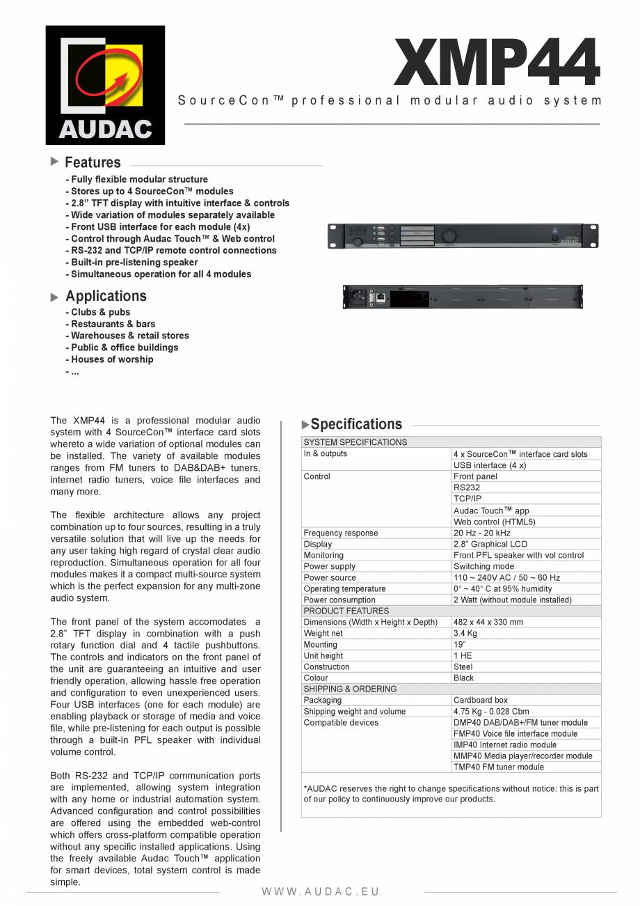 Pagina 1 - Sistem audio modular profesional AUDAC XMP44 Fisa tehnica Engleza AUDAC  XMP44 ...