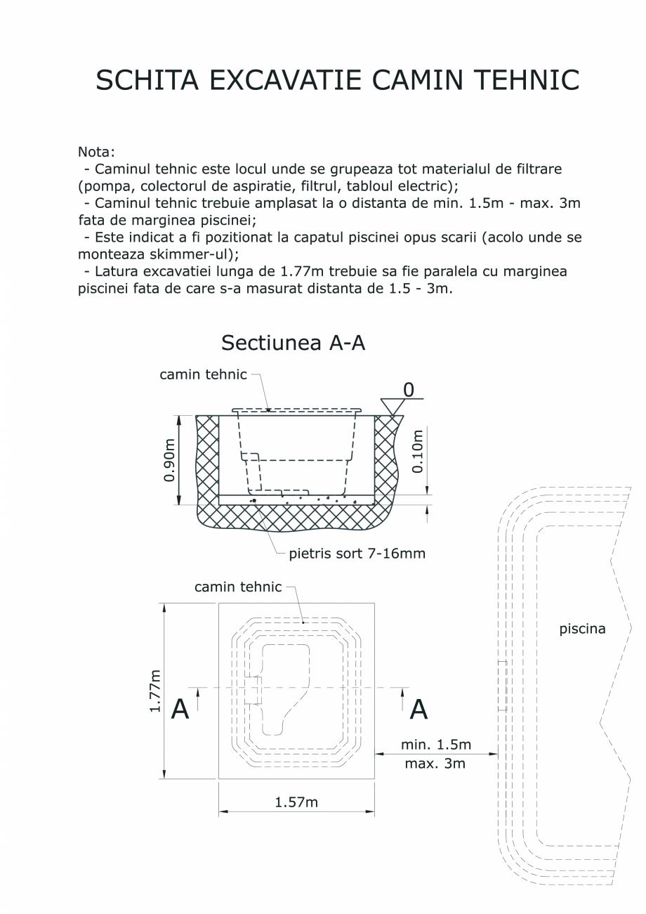 Pagina 1 - CAD-PDF Excavatie camin tehnic SKYMIRROR Detaliu de montaj MARINA, GOLF, LAGUNA, DELTA
