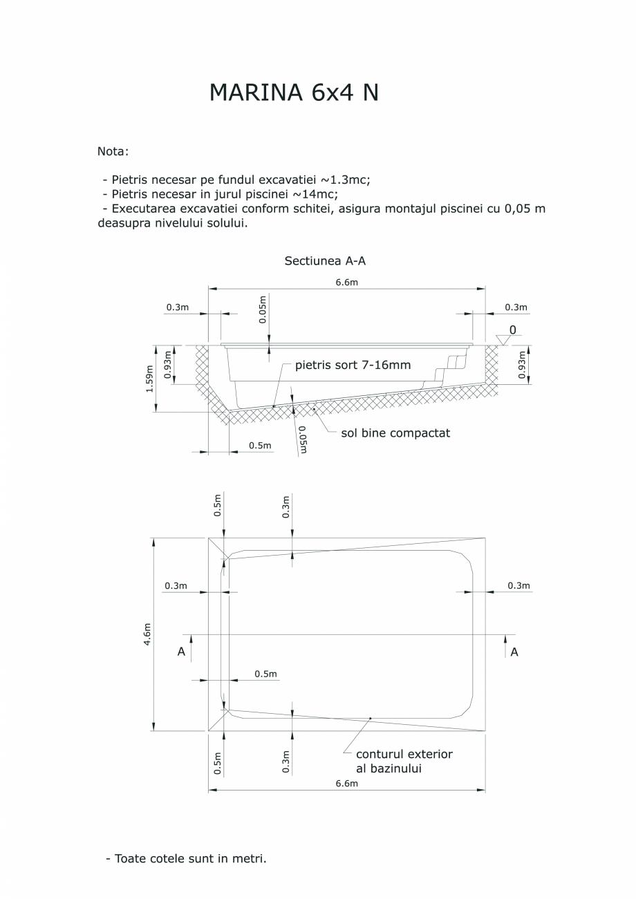 Pagina 1 - CAD-PDF Schita excavatie piscine Marina -6X 4 SKYMIRROR Detaliu de montaj