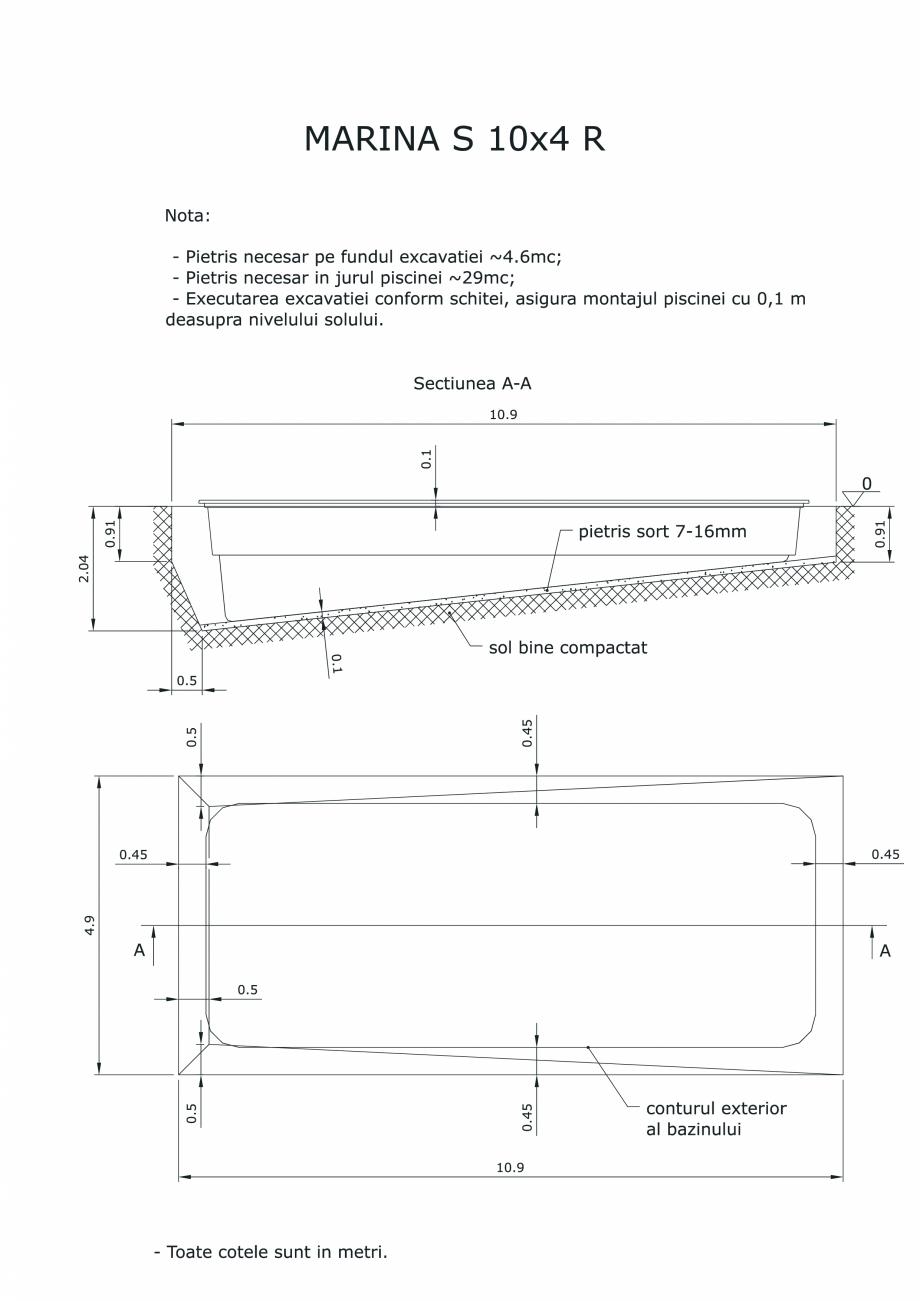 Pagina 1 - CAD-PDF Schita excavatie piscine Marina  S -10X 4  R SKYMIRROR Detaliu de montaj