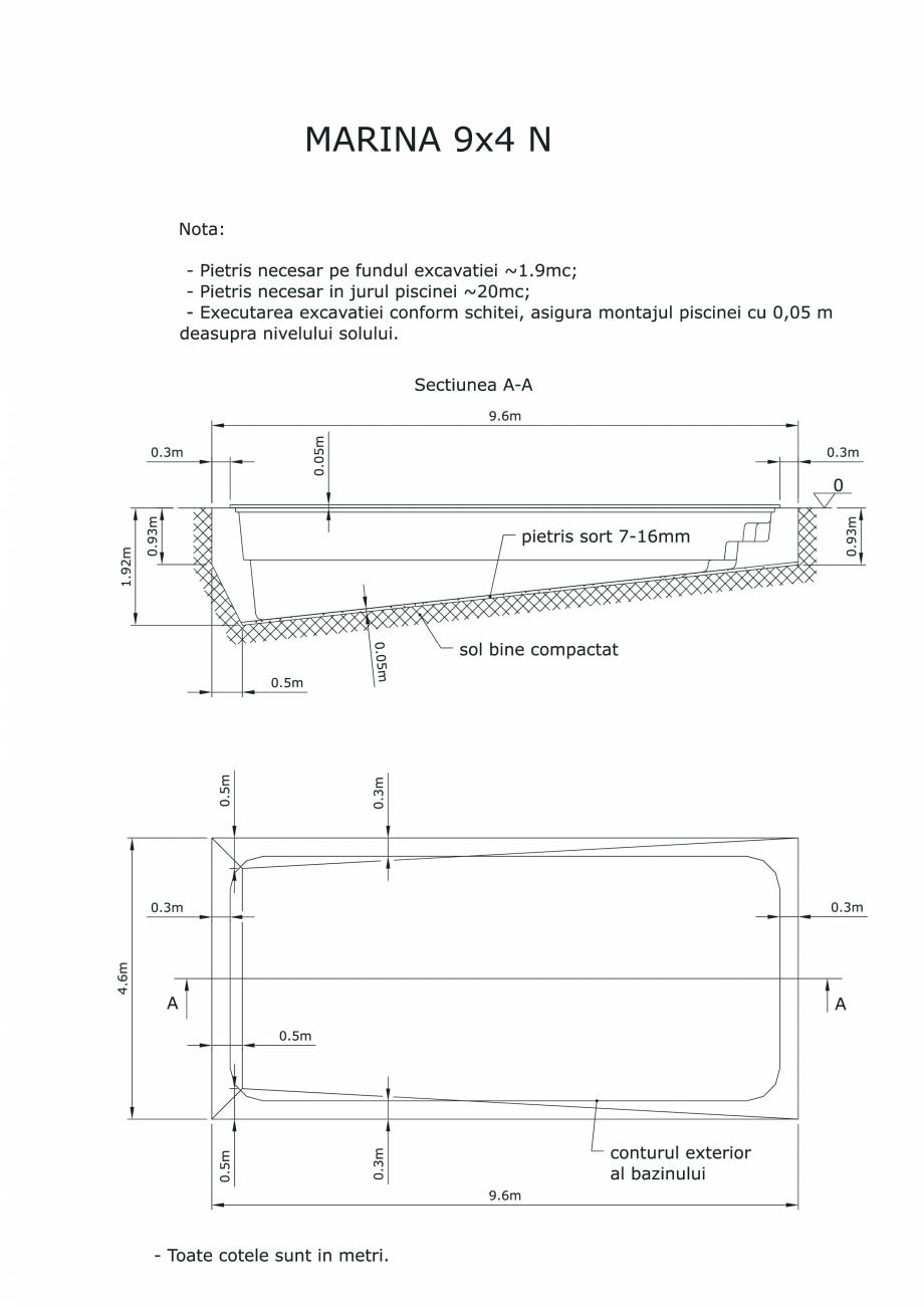 Pagina 1 - CAD-PDF Schita excavatie piscine Marina -9X 4 SKYMIRROR Detaliu de montaj