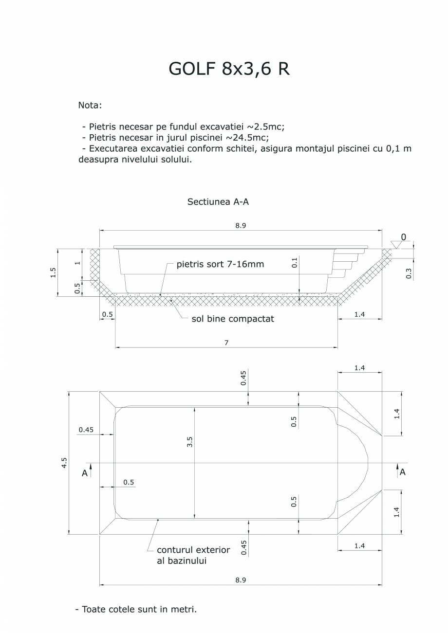 Pagina 1 - CAD-PDF Schita excavatie piscina Golf 8X3,6  R SKYMIRROR Detaliu de montaj