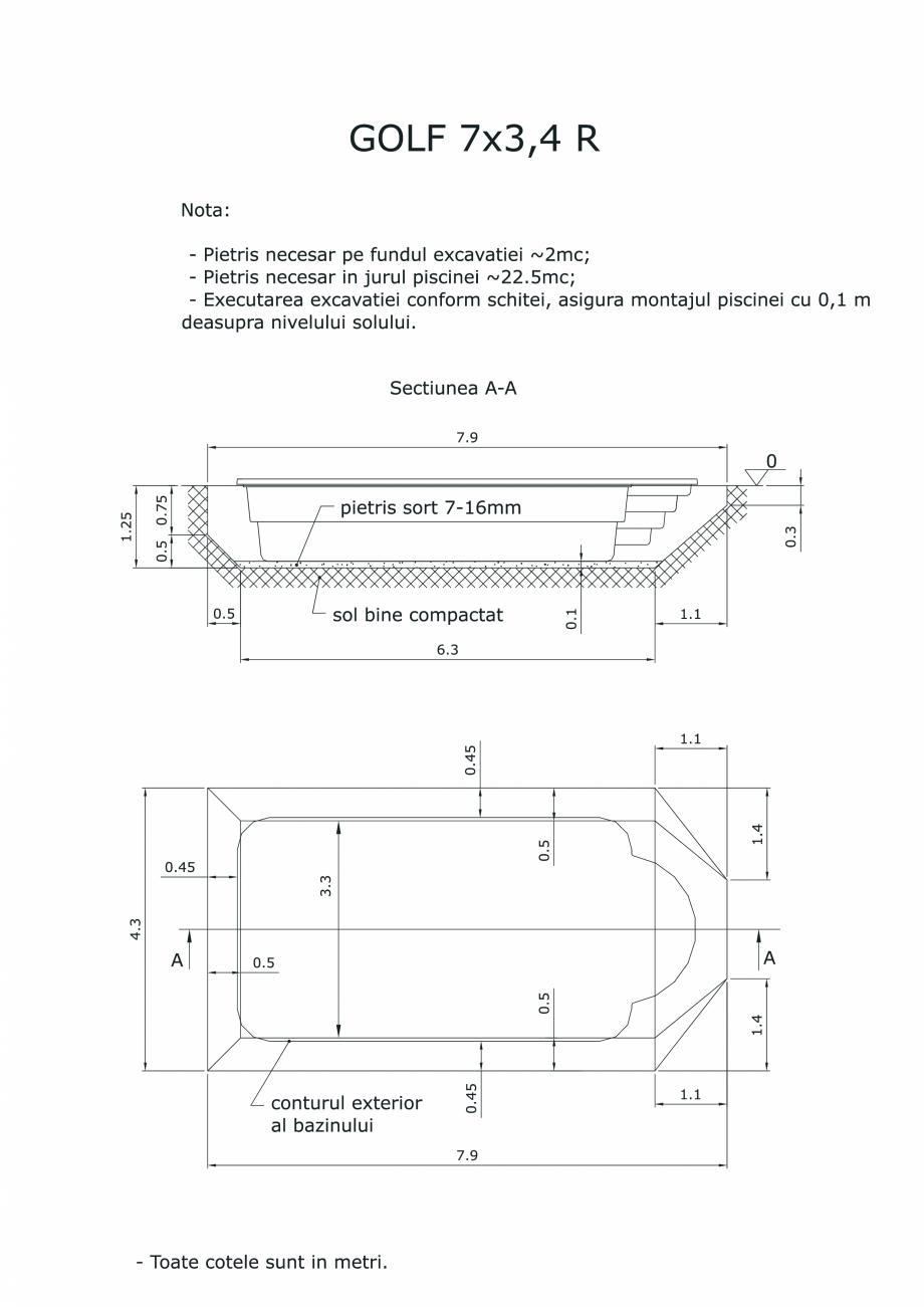 Pagina 1 - CAD-PDF Schita excavatie piscina Golf 7X3,4  R SKYMIRROR Detaliu de montaj