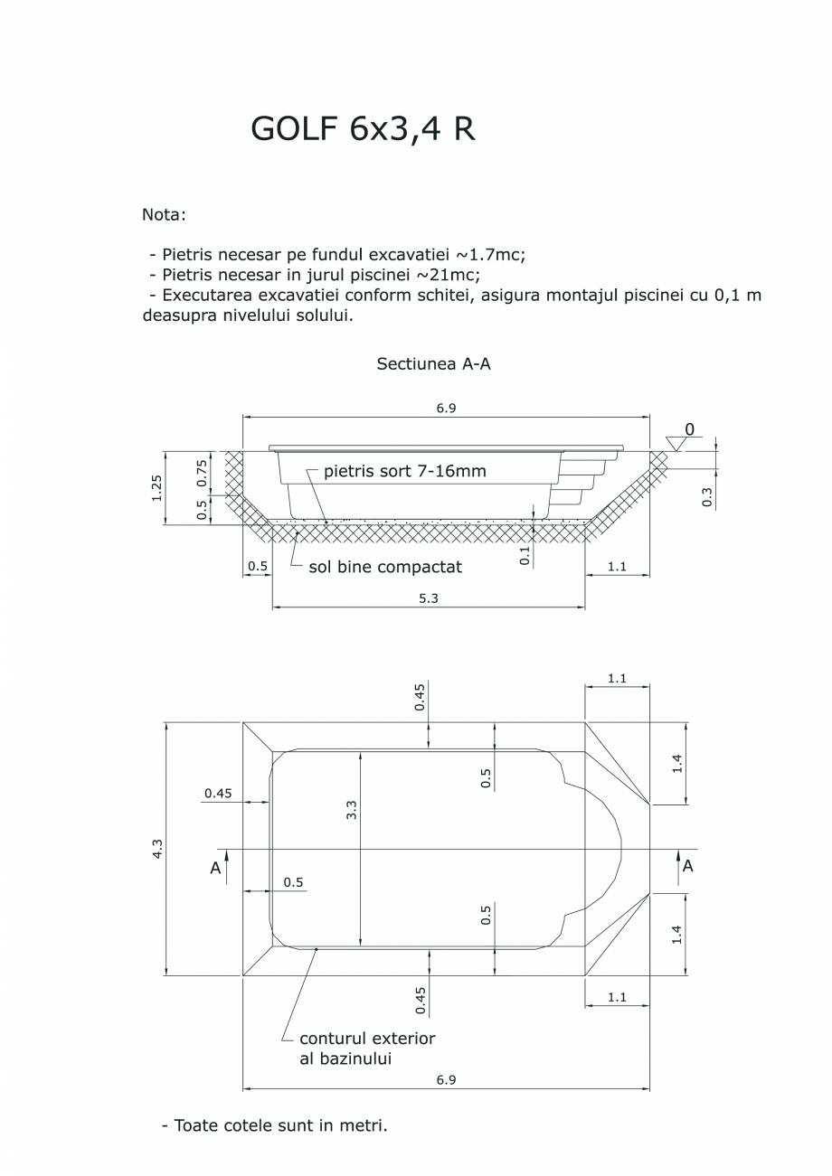 Pagina 1 - CAD-PDF Schita excavatie piscina Golf 6X3,4  SKYMIRROR Detaliu de montaj
