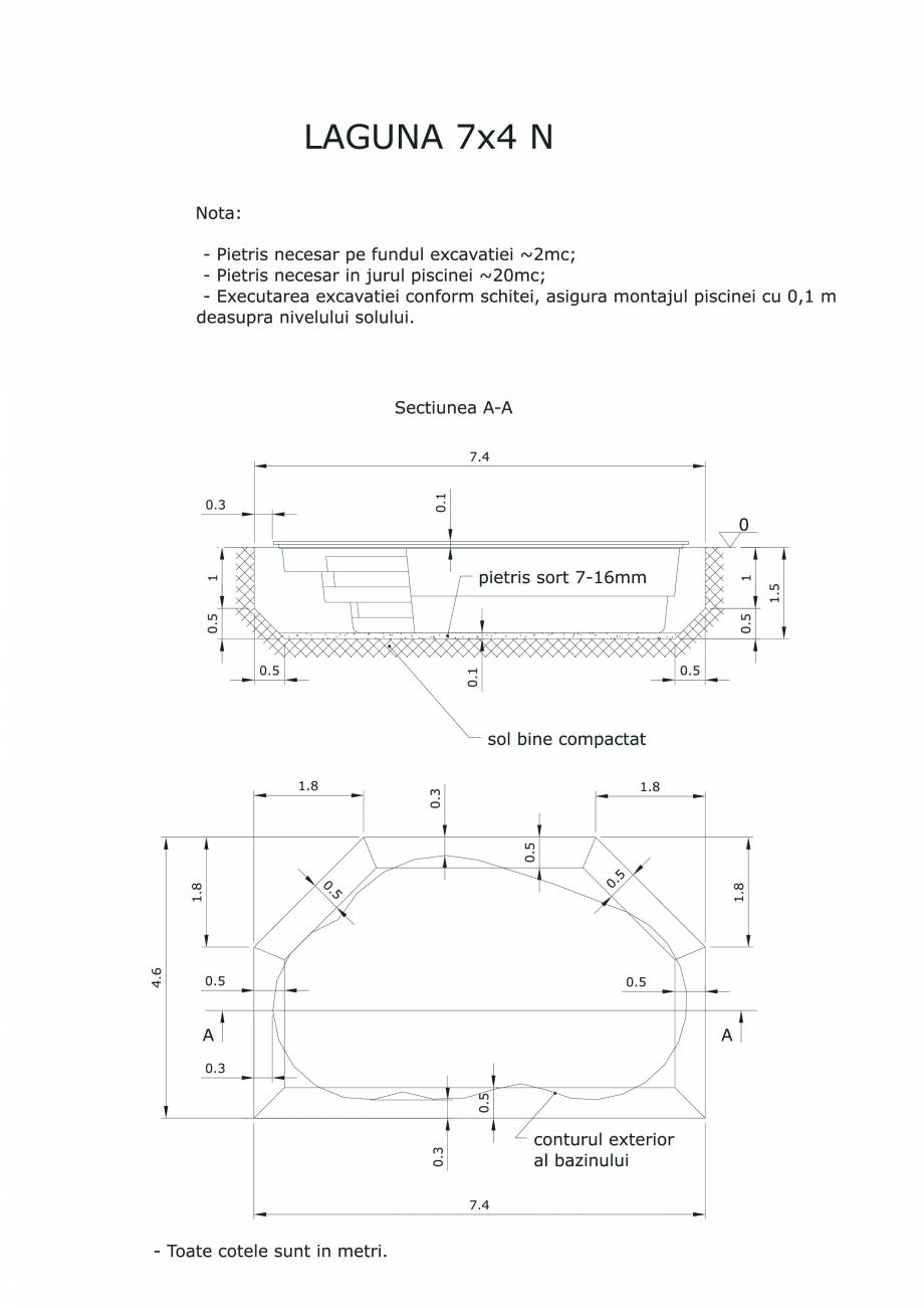 Pagina 1 - CAD-PDF Schita excavatie piscine Laguna 7X4 N SKYMIRROR Detaliu de montaj