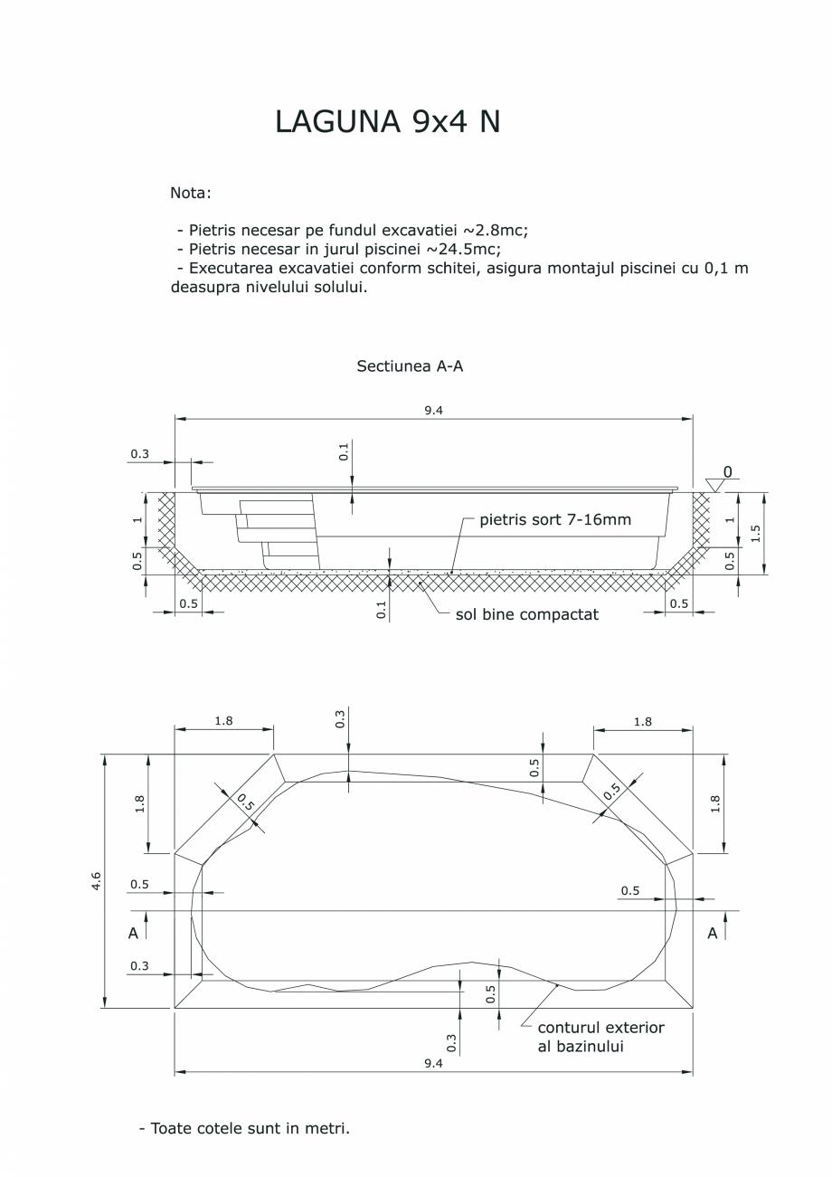 Pagina 1 - CAD-PDF Schita excavatie piscine Laguna 9X4 N SKYMIRROR Detaliu de montaj