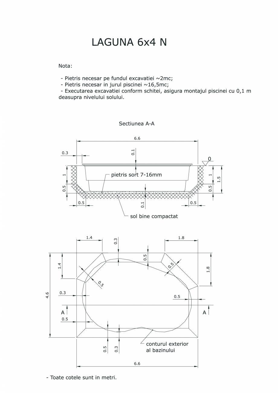 Pagina 1 - CAD-PDF Schita excavatie piscine Laguna 6X4 N SKYMIRROR Detaliu de montaj