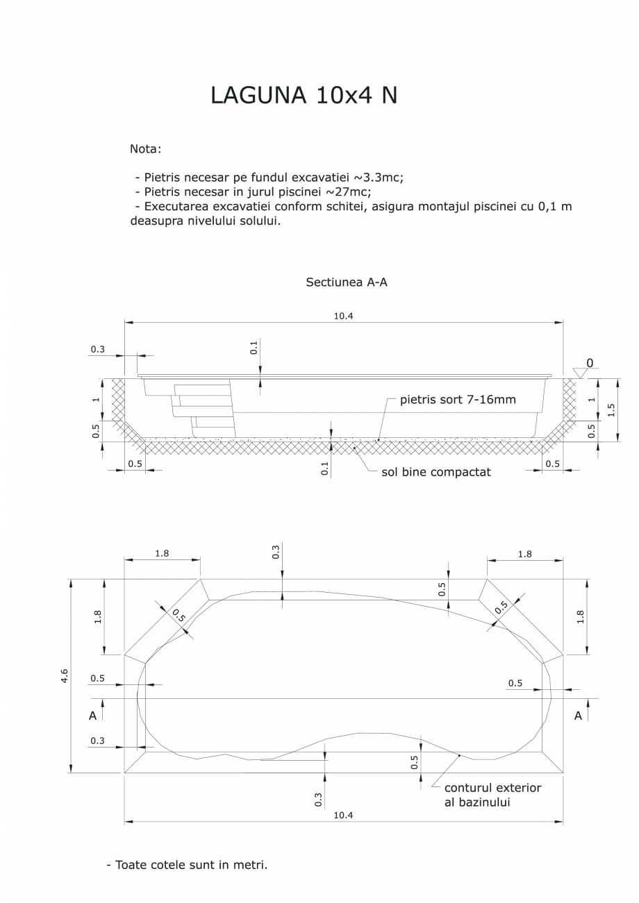 Pagina 1 - CAD-PDF Schita excavatie piscine Laguna 10X4 N SKYMIRROR Detaliu de montaj