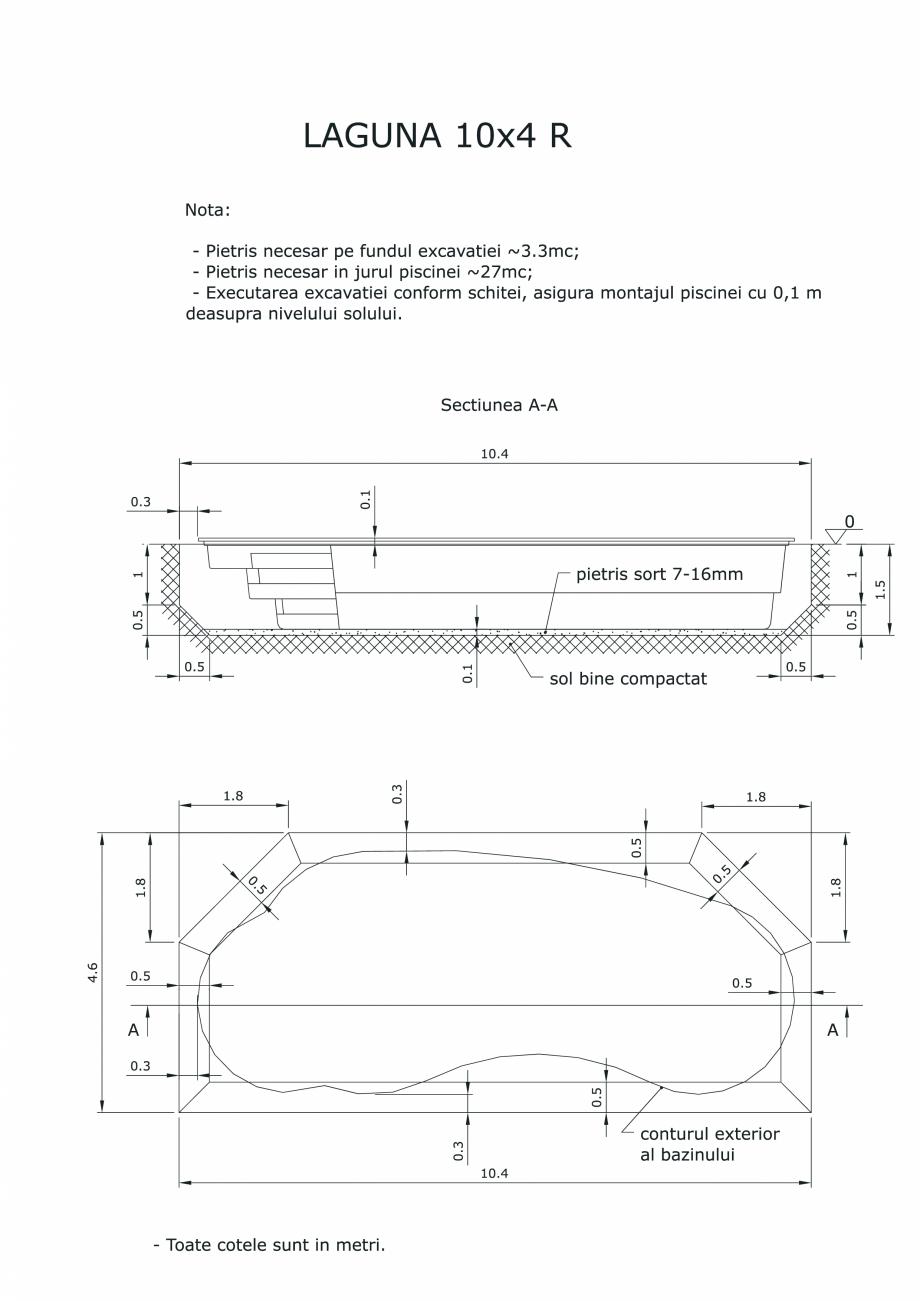Pagina 1 - CAD-PDF Schita excavatie piscine Laguna 10X4 R SKYMIRROR Detaliu de montaj