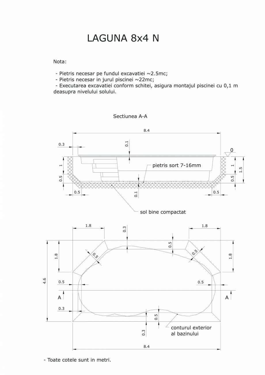 Pagina 1 - CAD-PDF Schita excavatie piscine Laguna 8X4 N SKYMIRROR Detaliu de montaj