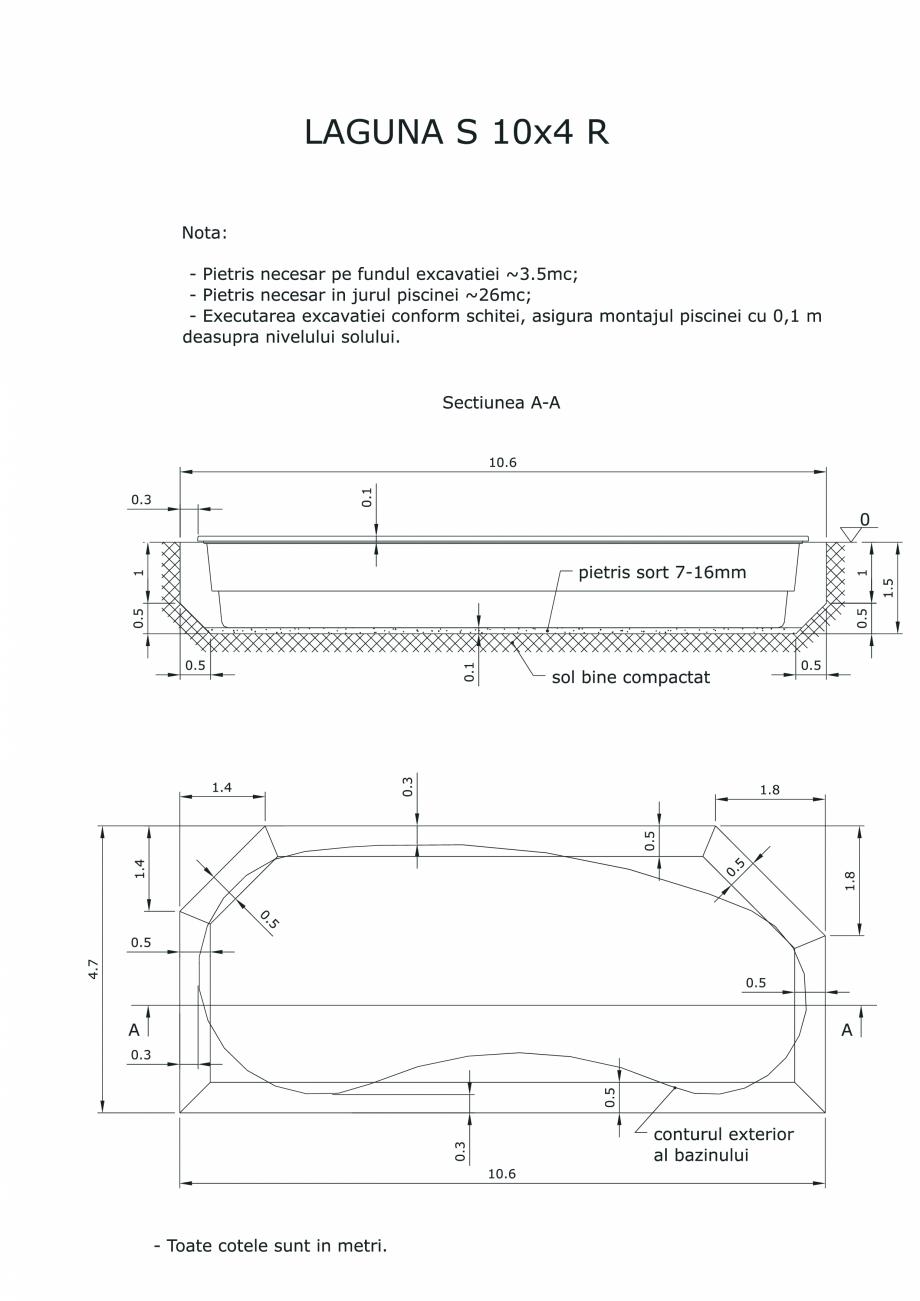 Pagina 1 - CAD-PDF Schita excavatie piscine Laguna S 10X4 R SKYMIRROR Detaliu de montaj
