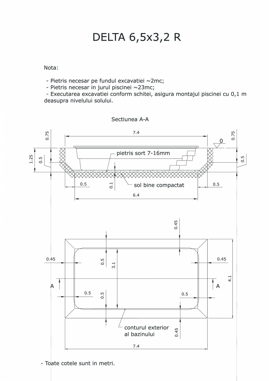 Pagina 1 - CAD-PDF Schita excavatie piscina Delta 6,5 X3.2 R SKYMIRROR Detaliu de montaj