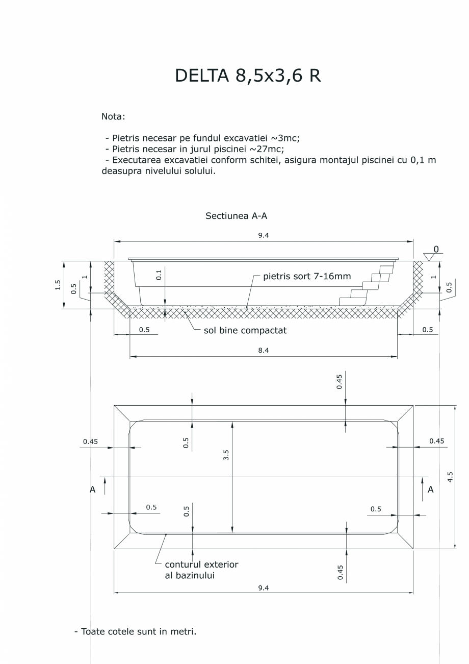 Pagina 1 - CAD-PDF Schita excavatie piscina Delta 8,5 X3,6 R SKYMIRROR Detaliu de montaj