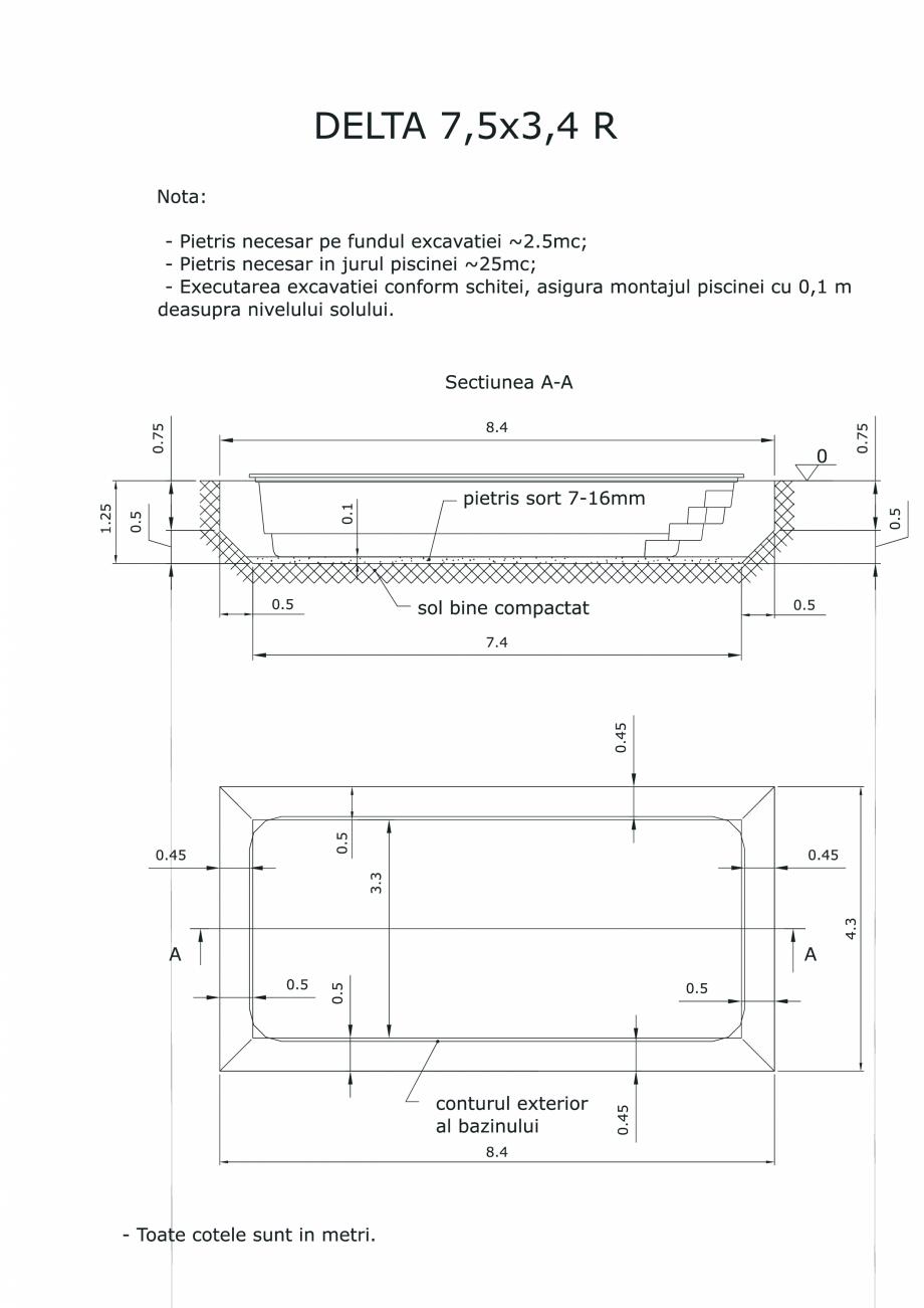 Pagina 1 - CAD-PDF Schita excavatie piscina Delta 7,5 X3,4 R SKYMIRROR Detaliu de montaj