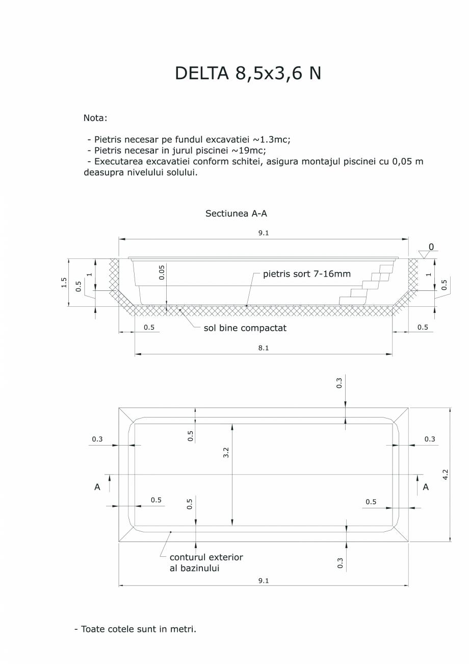 Pagina 1 - CAD-PDF Schita excavatie piscina Delta 8,5 X3,6 N SKYMIRROR Detaliu de montaj