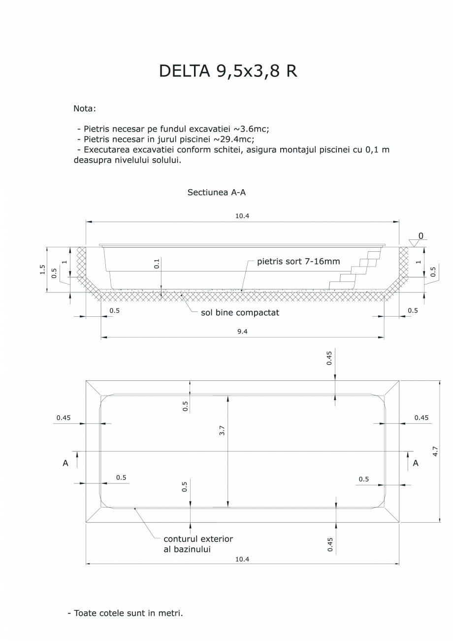 Pagina 1 - CAD-PDF Schita excavatie piscina Delta 9,5 X3,8 R SKYMIRROR Detaliu de montaj