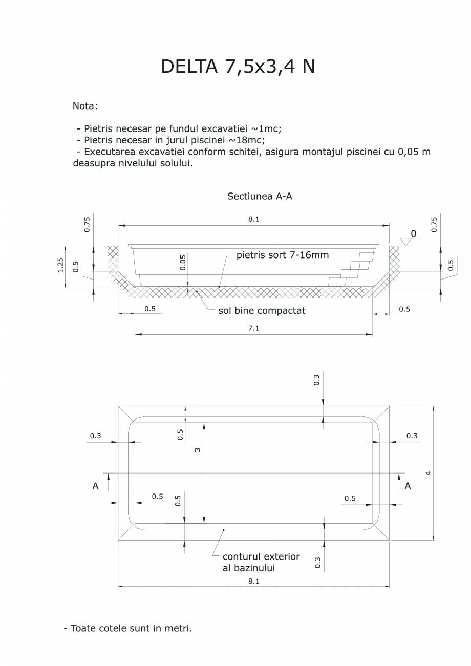 Pagina 1 - CAD-PDF Schita excavatie piscina Delta 7,5 X3,4 N SKYMIRROR Detaliu de montaj