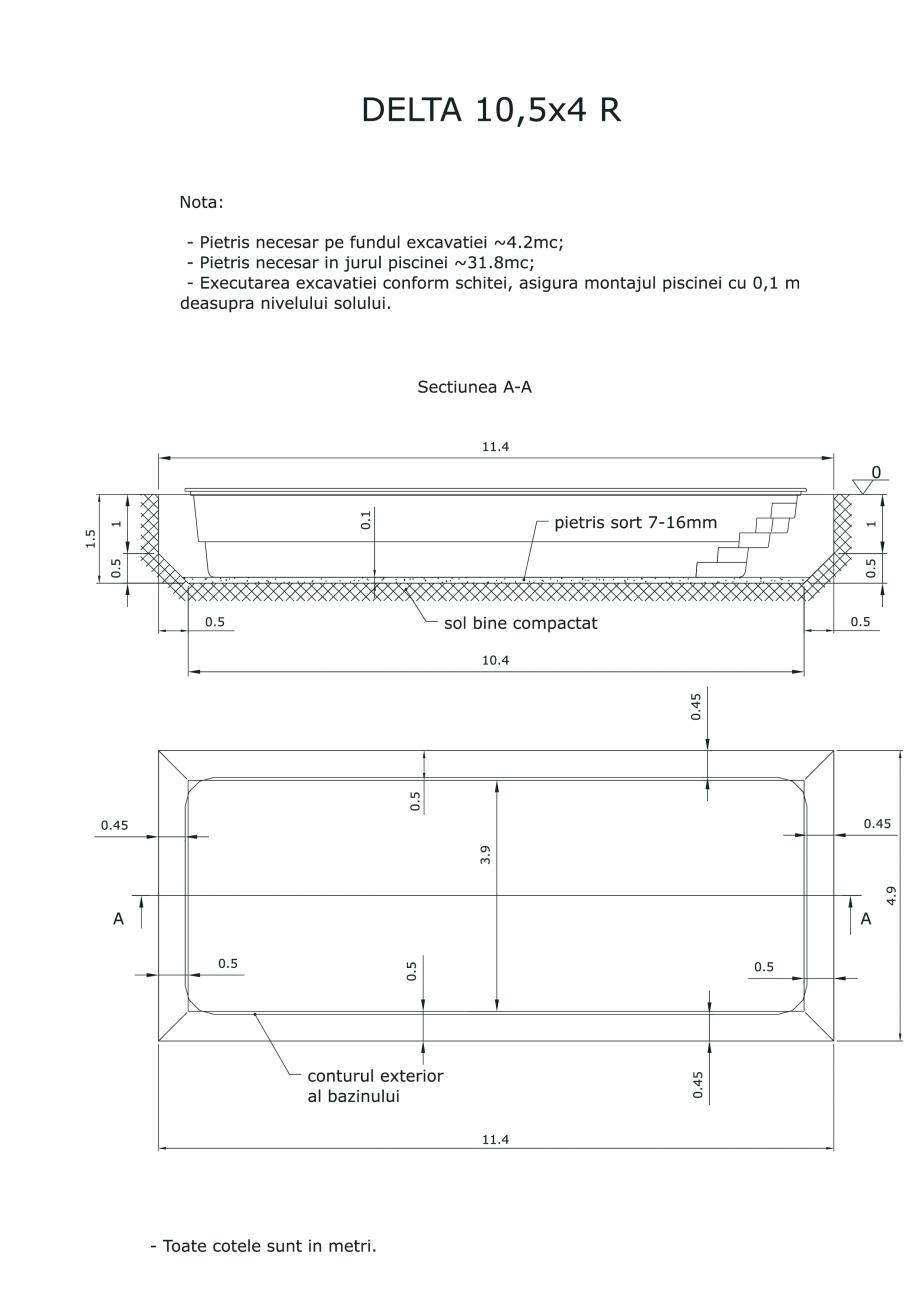 Pagina 1 - CAD-PDF Schita excavatie piscina Delta 10,5 X4 R SKYMIRROR Detaliu de montaj