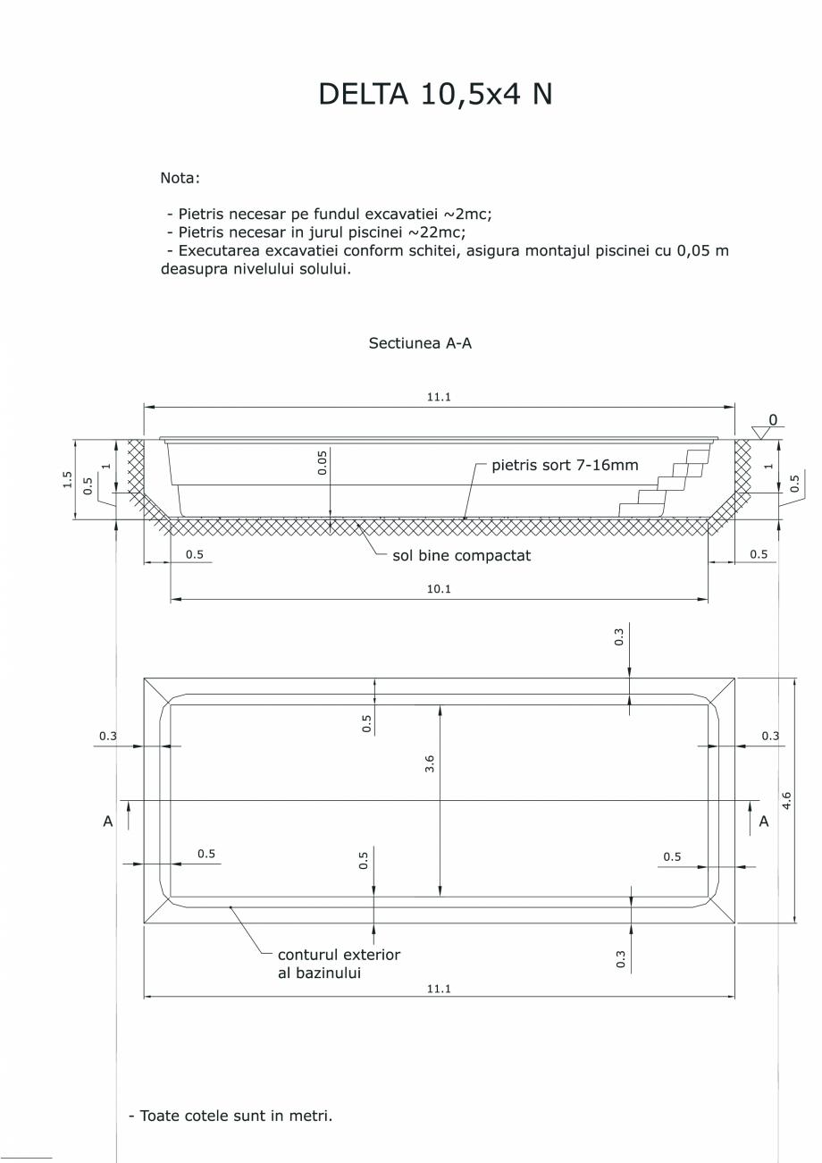 Schita excavatie piscina Delta 10,5 X4 N DELTA SKYMIRROR Piscine rezidentiale monobloc din fibra de sticla AVI PISCINE   - Pagina 1