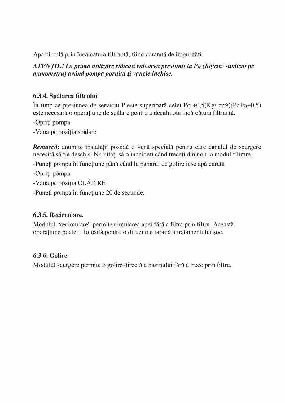 Pagina 29 - Manual de instalare si intretinere piscine SKYMIRROR GOLF, MARINA, LAGUNA, DELTA...