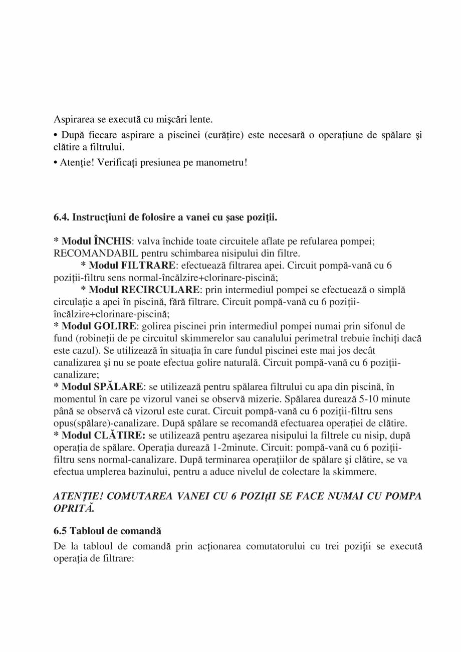 Pagina 31 - Manual de instalare si intretinere piscine SKYMIRROR GOLF, MARINA, LAGUNA, DELTA...