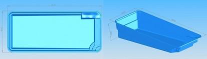 Dimensiuni model Marina MARINA Piscina rezidentiala din fibra de sticla - imagini 3D