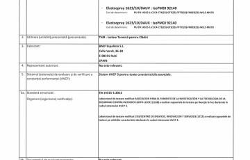 Declaratie de performanta sistem poliuretanic rigid pulverizabil Isoterm