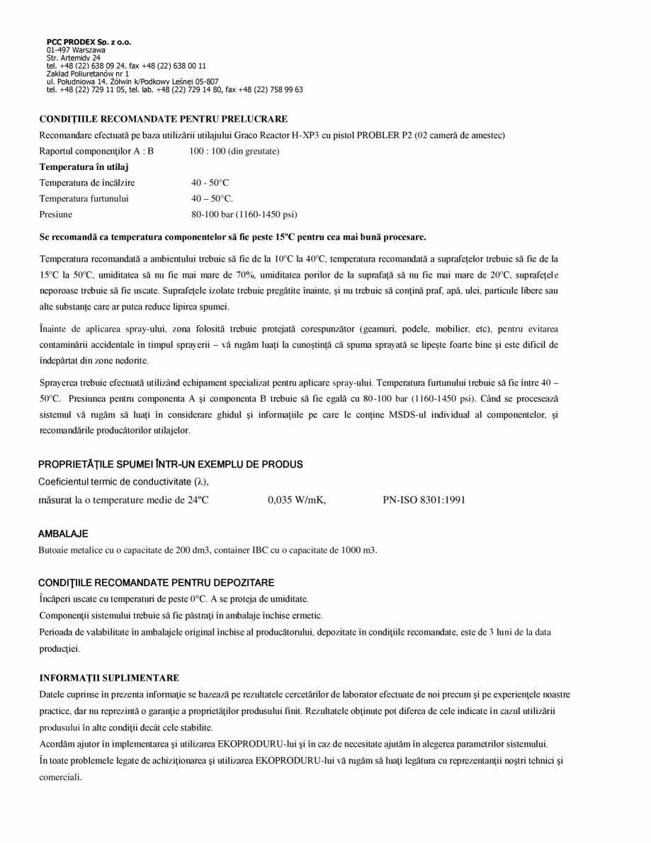 Pagina 2 - Spuma poliuretanica cu celule deschise 15 kgmc ISORIHNER Fisa tehnica Romana /m³,...