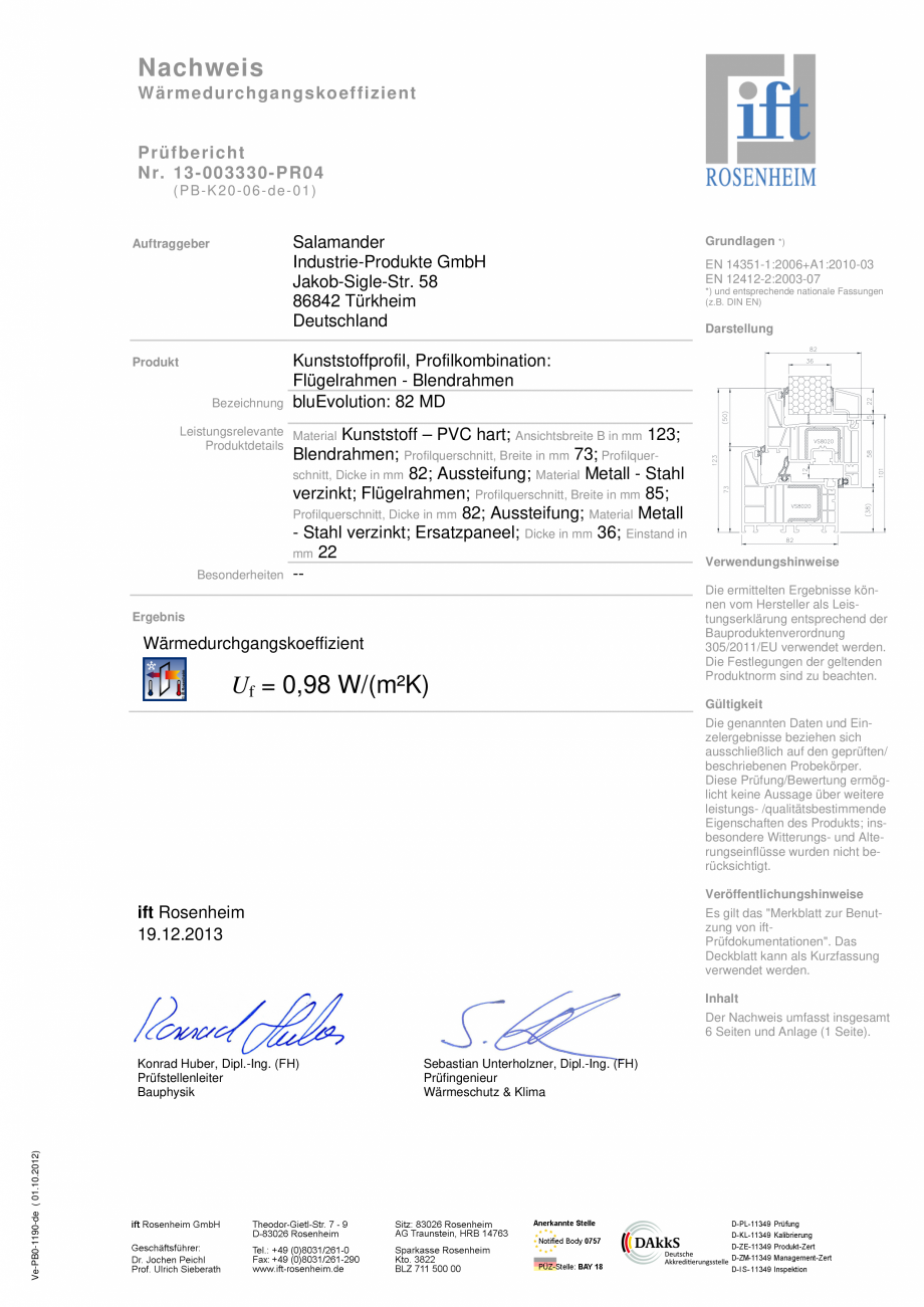 Pagina 1 - Sistem de tamplarie PVC CRIOS bluEvolution 82 Certificare produs Germana Nachweis...