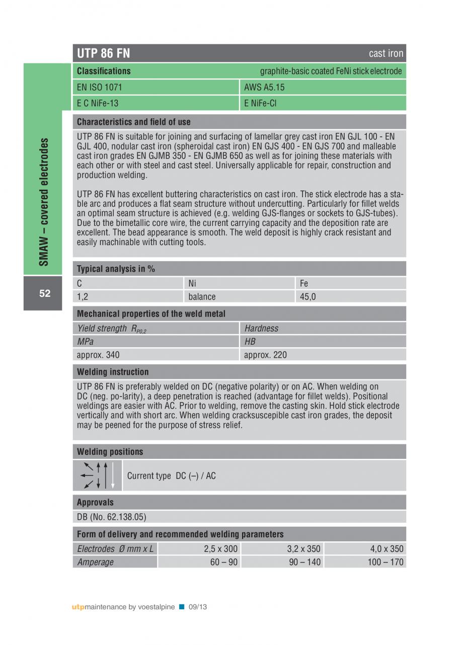 Pagina 54 - Solutii complete (materiale de adaos) pentru mentenanta si reparatii TEHNIC GAZ WELDING ...