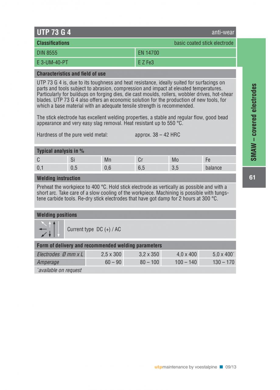 Pagina 63 - Solutii complete (materiale de adaos) pentru mentenanta si reparatii TEHNIC GAZ WELDING ...