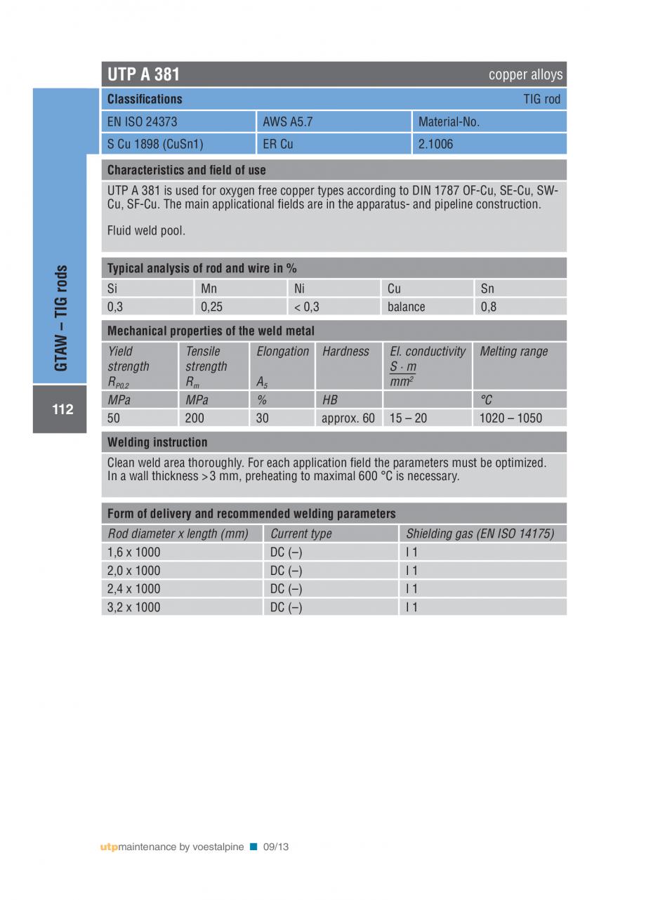 Pagina 114 - Solutii complete (materiale de adaos) pentru mentenanta si reparatii TEHNIC GAZ WELDING...