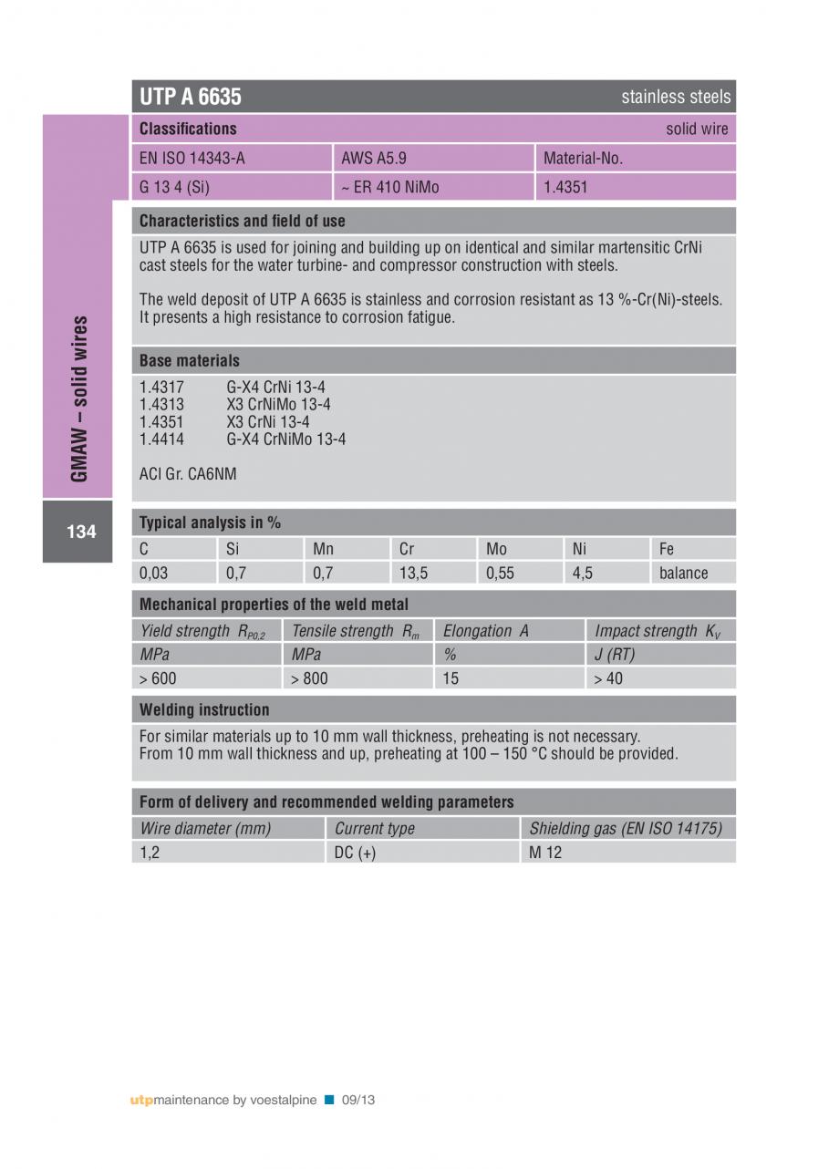 Pagina 136 - Solutii complete (materiale de adaos) pentru mentenanta si reparatii TEHNIC GAZ WELDING...