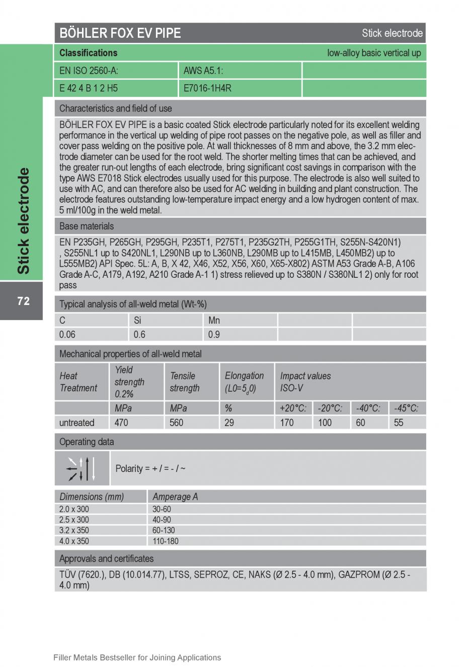 Pagina 72 - Solutii complete (materiale de adaos) pentru orice tip de aplicatie in sudare TEHNIC GAZ...