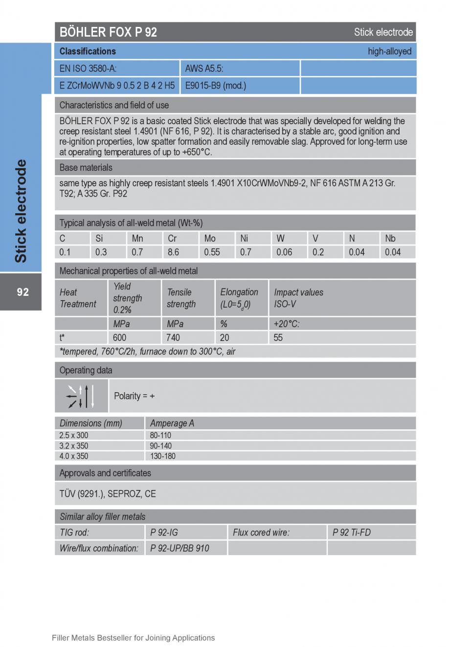 Pagina 92 - Solutii complete (materiale de adaos) pentru orice tip de aplicatie in sudare TEHNIC GAZ...